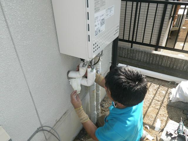 エコジョーズ取替工事(神戸市西区)設置中