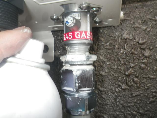 給湯専用型取替工事(神戸市長田区)ガス漏れチェック④