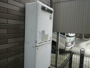 ガス給湯器エコジョーズ取替工事(尼崎市)取替施工前。