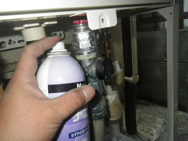 給湯器取替工事(神戸市北区)ガス漏れチェック