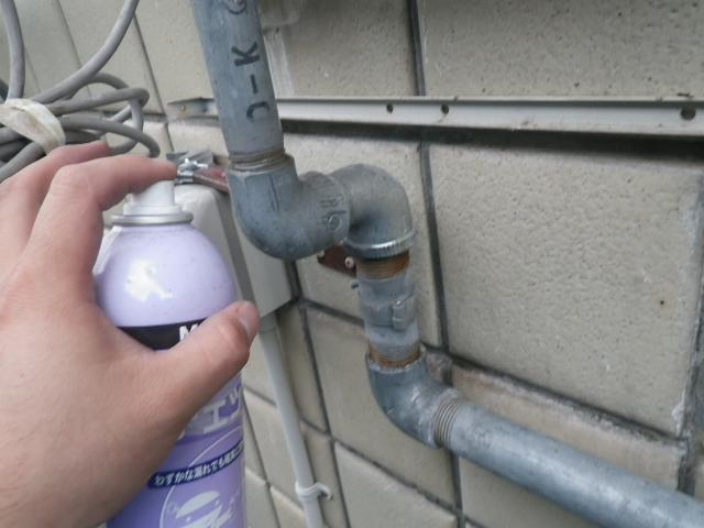 ガス給湯器取替工事(神戸市東灘区)ガス漏れチェック
