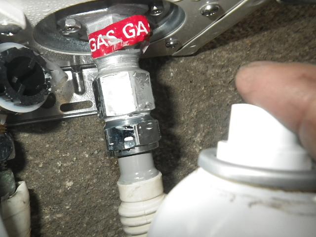高温差し湯取替工事(芦屋市)ガス漏れチェック