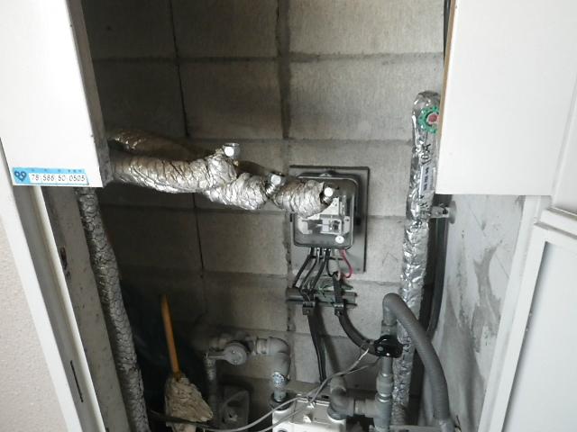 Rinnai高温差し湯ガス給湯器取替工事(明石市)PS扉加工完了後