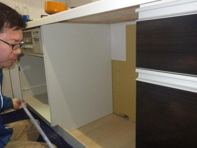 食器洗い機新設工事(加西市)キャビネット組み変え後