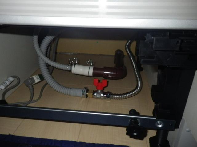 食器洗い機新設工事(加西市)配管接続後