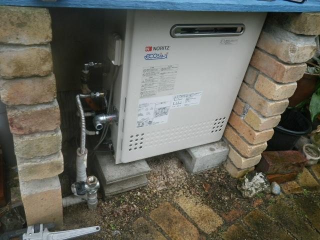 ガス給湯器エコジョーズ取替工事(西宮市)給湯器本体固定設置完了後