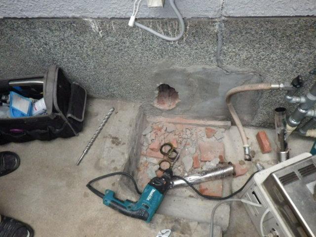 ノーリツ GT-2050SAWX-2 給湯器取替工事(神戸市垂水区)追い焚き撤去後