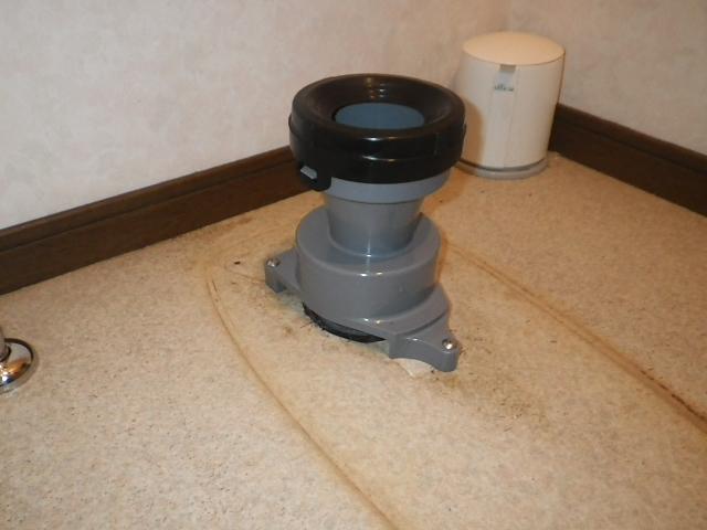 トイレ取替工事 排水アジャスター取替完了後。